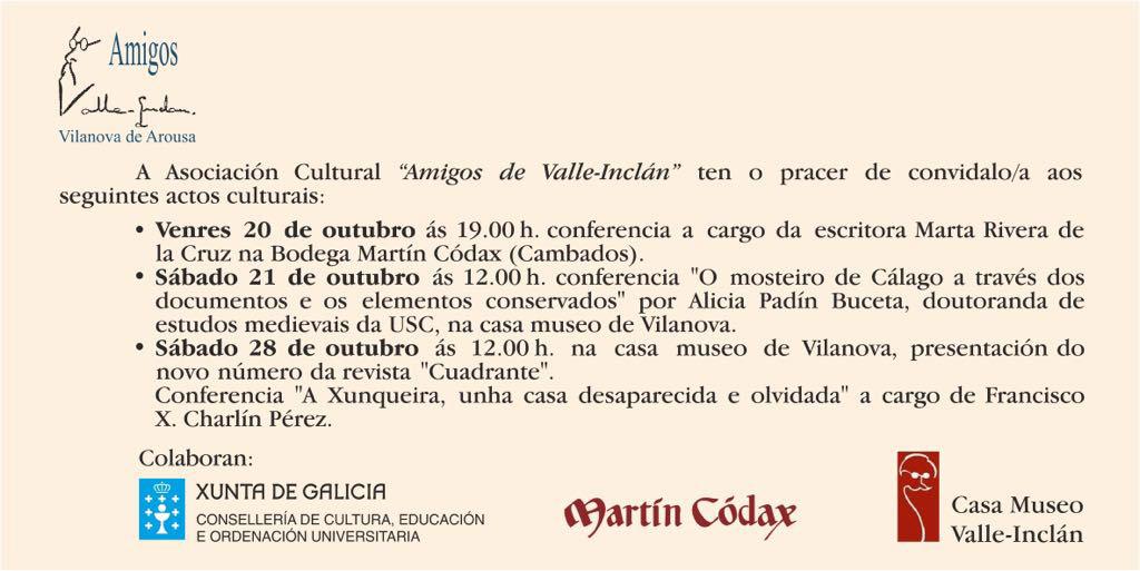 Eventos Octubre Amigos de Valle-Inclán
